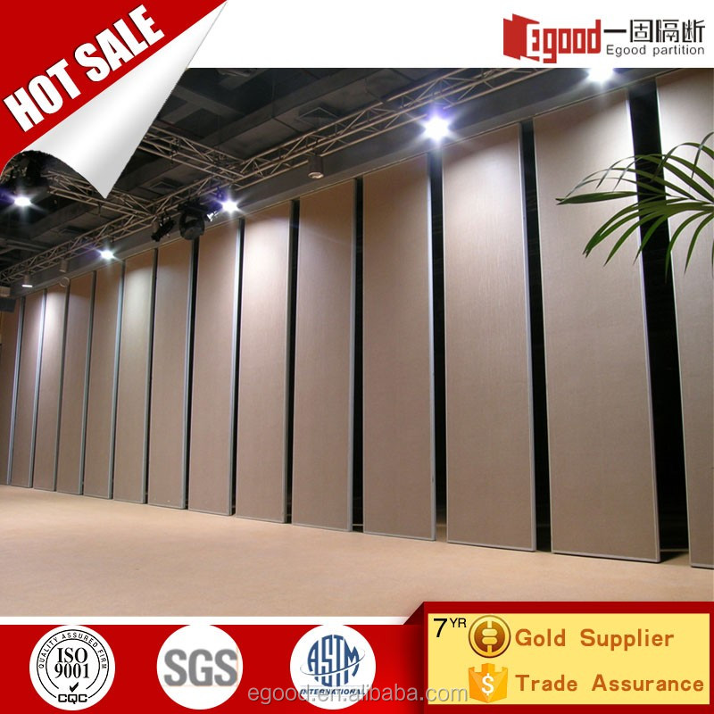 Church ultra high sound proof sliding foldable partition door with aluminium frame siporex
