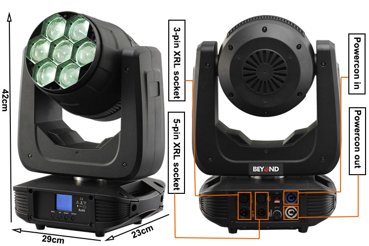 7x 4in1 led zoom beam moving head light for stage