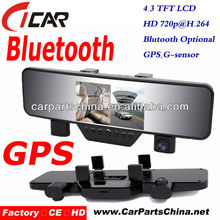 30fps hd 720p bluetooth 2 lens 4.3 inch g-sensor hard drive mini dvr