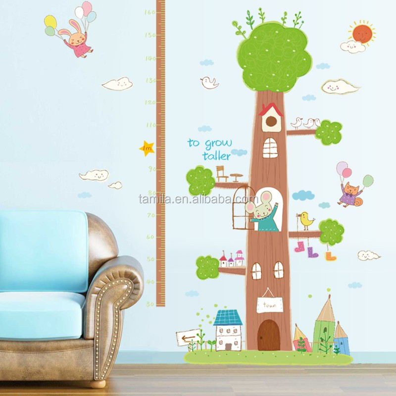 decoration kids height growth chart home decor wall sticker/measurement pvc wall sticker