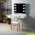 Solid wood dresser table with LED light ,and a stool ,2 drawer