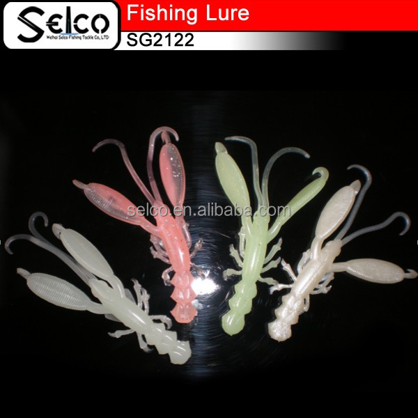 China made pvc bionic soft Craws fishing swimbaits, glowing in dark