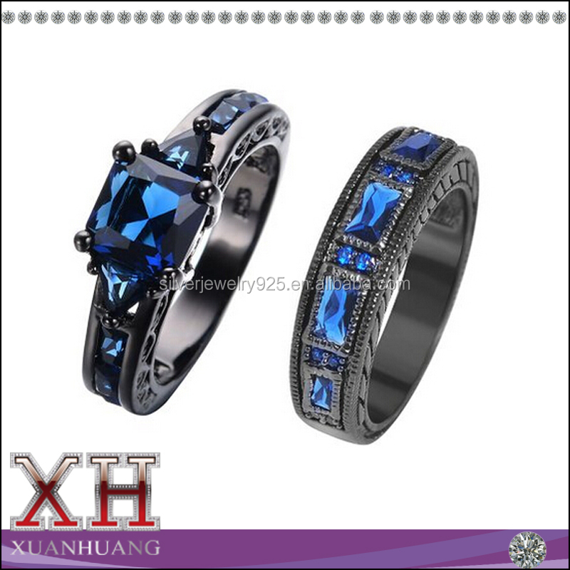 Xuan Huang Silver Jewelry Black Gold Plated Sapphire Blue Gemstone Ring
