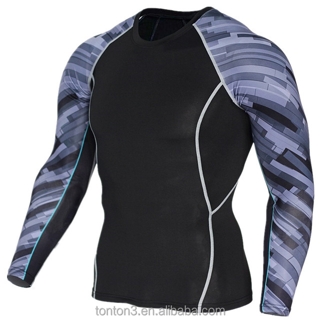 Compression Long Sleeve Print Fitness Mens Sports T Shirt Custom Sublimation Compression Shirt Men