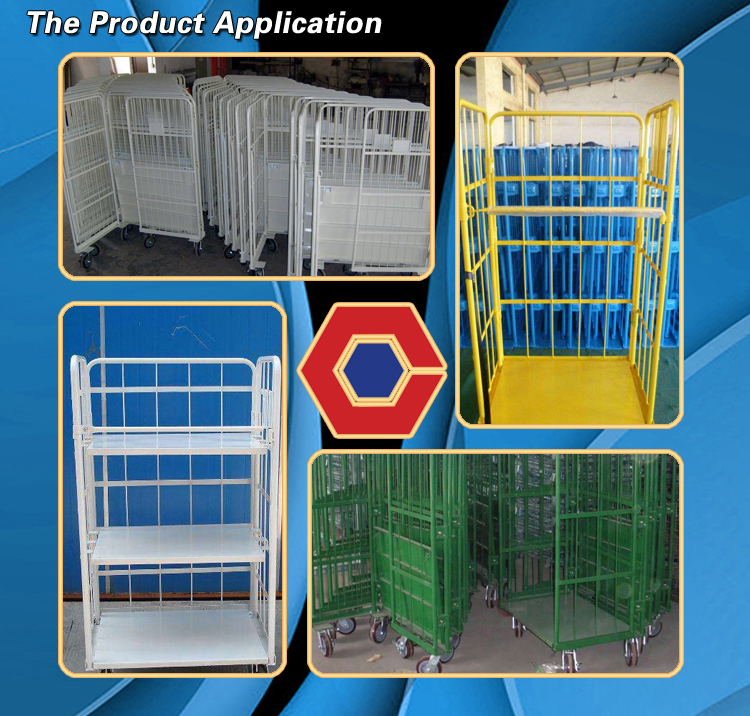 foldable metal/steel roll cart from real manufacturer