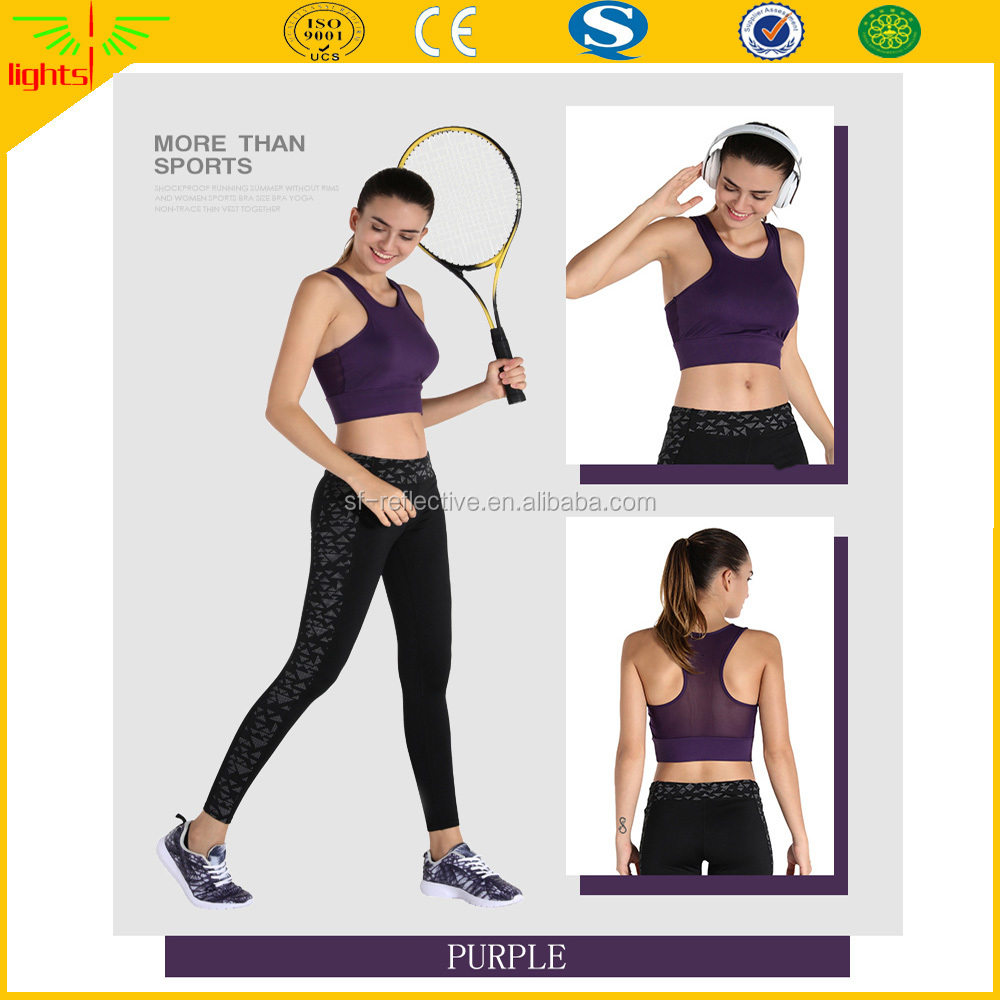 custom nice comfortable women fitness sports hot sexy wear apparel yoga bra clothing with reflective printing pattern