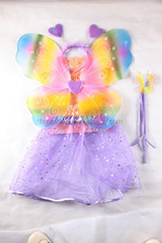 cheapest cute purple tutu & colorful butterfly wings set and bling glitter for girls