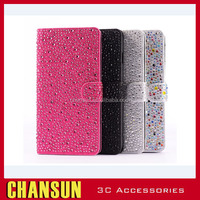 Luxury bling Raindrop Diamond pu leather stand phone Cover Case for iphone 5/5S