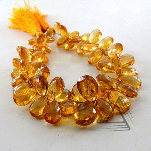 Citrine Pear Shape Briolette Strands, Natural Wholesale Semi Precious & Precious Color Gemstone, Loose Beads