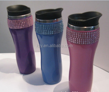 Hot Selling shinny crystal rhinestone sticker 6 rows rhinestone sheet with glue stick on cup