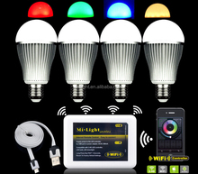 Milight cheap price 9W A60 e27 led lighting bulb,wifi approved colormix led lighting bulb