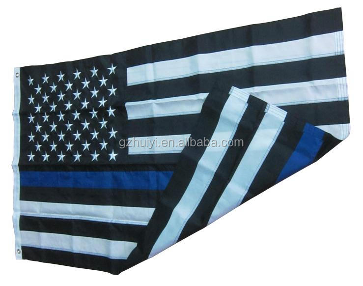 210D Nylon Embroidery 3*5ft Thin Blue Line Flag