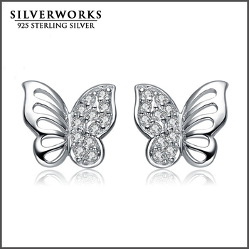 2016 Wholesale New Product Silver 925 Butterfly Stud Earings With CZ For Women