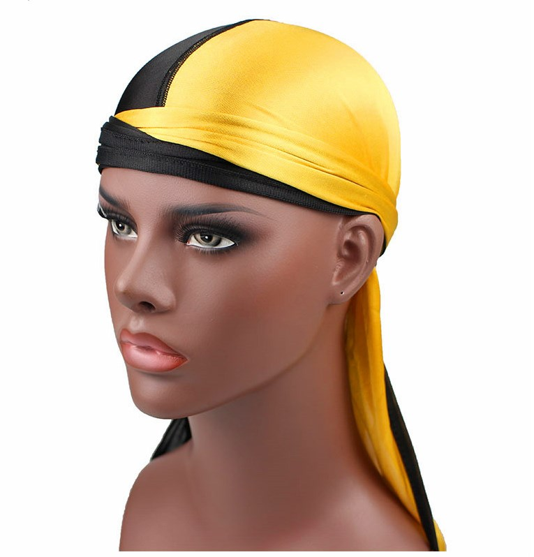 New Fashion Men s Silky  strong Patchwork  strong  Durags Double Colors Soft a9480f51aa87