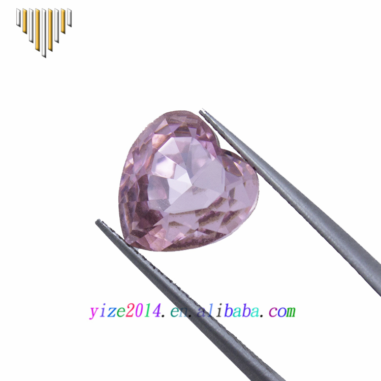 Hot sale machine cut heart shaped pink decorative glass stones for jewelry
