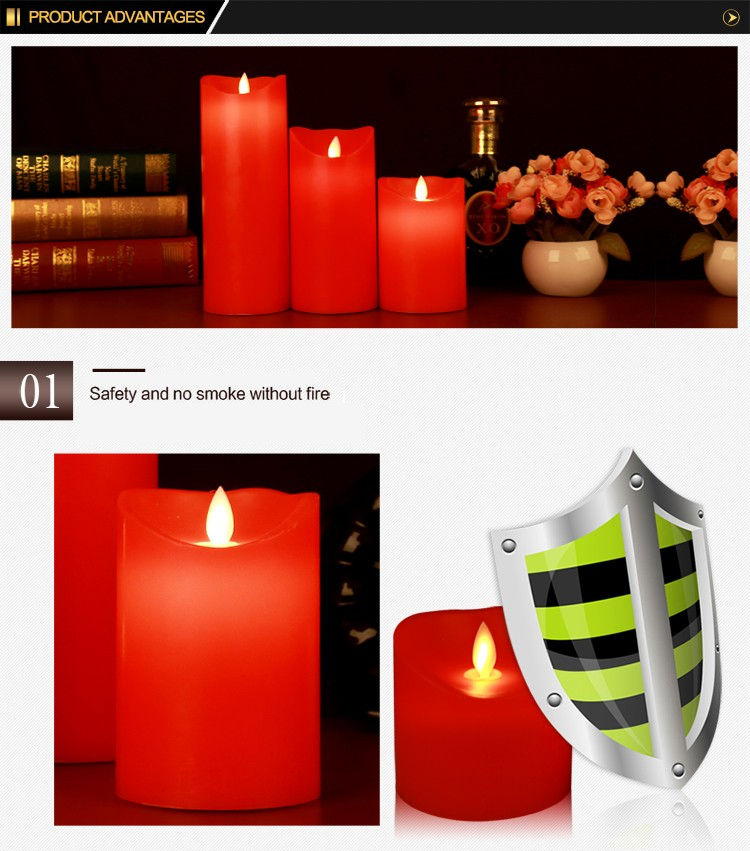 New style Red pillar candle Dancing flame led candle Christmas LED candle light