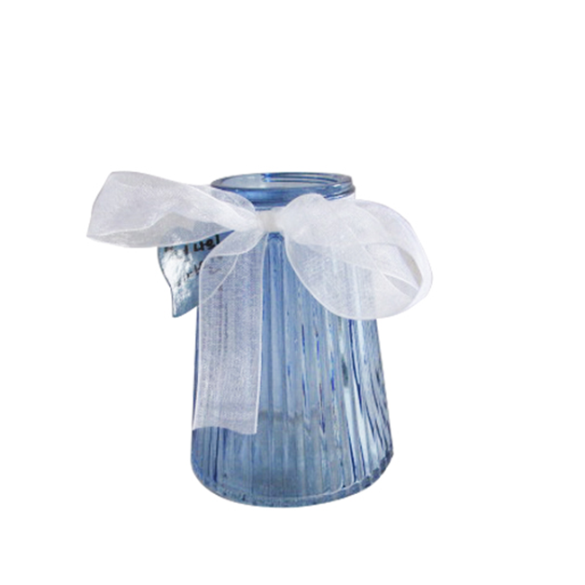 Home Decoration Blue Cylinder Striped Glass Vase with Ribbon