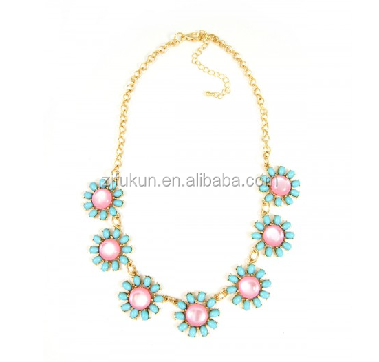 new style pastel cat eye stone daisies flower cluster golden necklace
