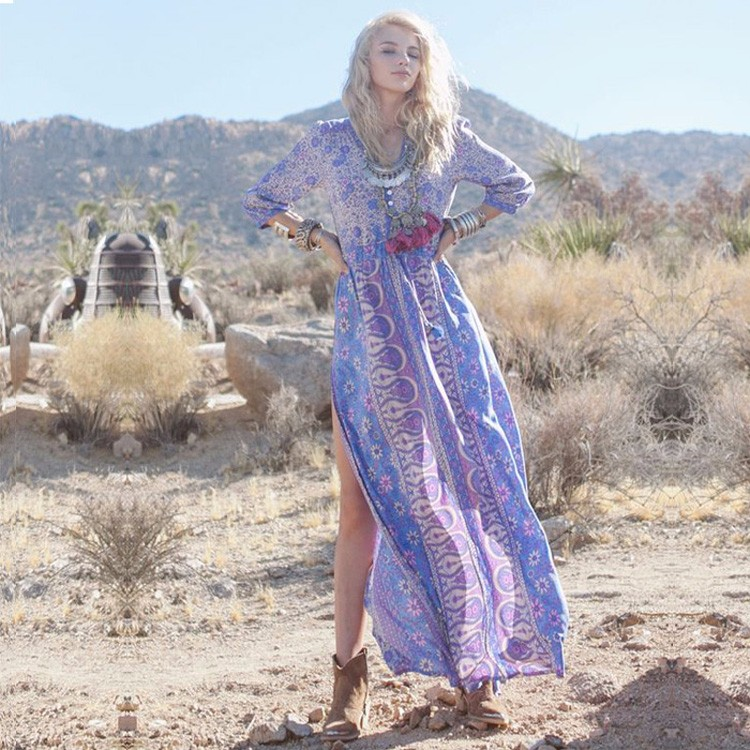 Summer Boho Dress Vintage Print Sexy Slit Maxi Dresses