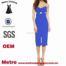 Ladies Custom Design Sexy Royal Blue Knee Length Silk Cross Dress