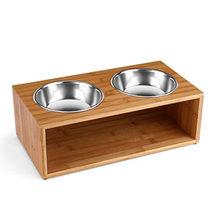 Pet Feeder with Double Stainless Steel Bowl Dish For Dog and Cat Pets Bowl Stand