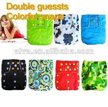 Baby clothing colorful snaps Double guessts Re-usalbe diapers with one insert healther than disposable diaper