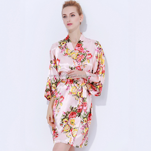 China Factory Silk Bridesmaid Floral Robe