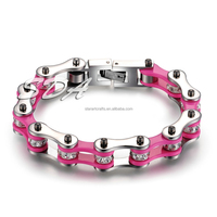 316L stainless steel bracelet women,fashion pink&silver bracelet hand biker link chain for women