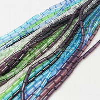 Bead Landing Mixed Transparent Colored Glass Tube Beads Strings