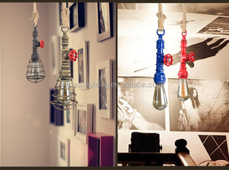 Unique Iron waterpipe Hanging vintage Pendant Light Edison pendant lights for bar/warehouse/cafe decor