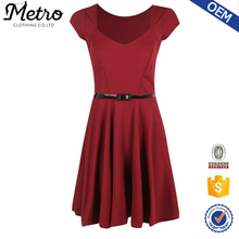 Casual Style Sexy Red Princess Cap shoulder Dresses With Waistband