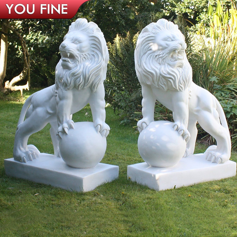 Hand Carved White Marble Lion Statue with Ball