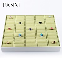 FANXI Fashion Elegant Shop Organizer White Lacquer Green Velvet Insert Jewelry Display Collection Finger Ring Holder Tray