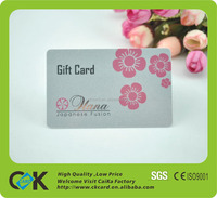 2016 hot sale PVC gift card printing with customized design
