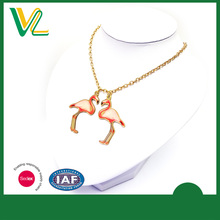 Custom design high quality Zinc Alloy Metal Offset printing Flamingo Gold plated Accessory Necklaces Pendant for couples
