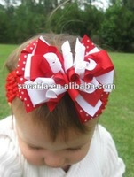 "Red White infant girl 4"" korker hair bow on crochet headband (dots)"