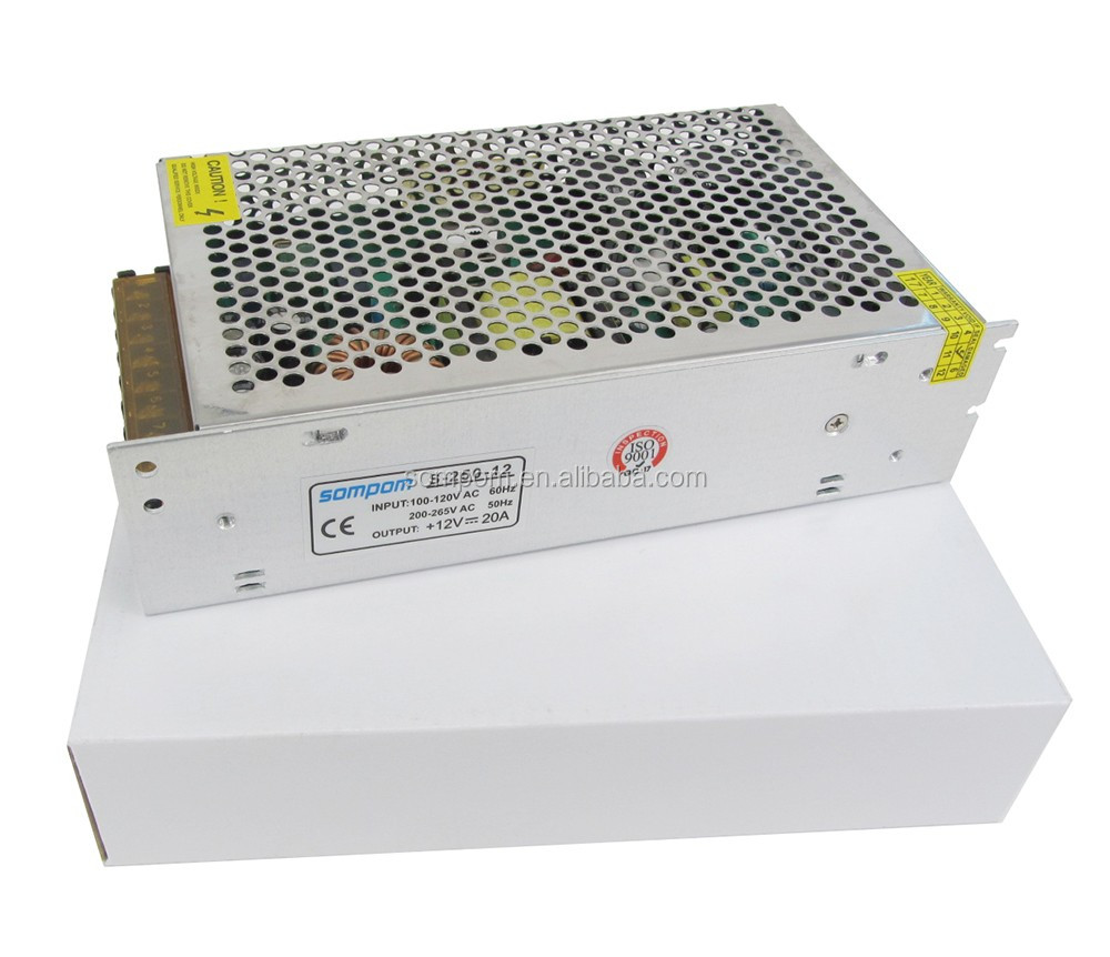 Sompom 12 Volt 20 Amp Smps 250w 240w Switching Power Supply 12v 20a Regulated Single Output 85 264vac 24v 2a 3a 5a Dc Led Driver
