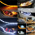 Car Crystal LED Strip Headlight DRL Switchback Sequential day time running light with stretch Turn Signal Lamp