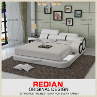Redian white leather bed with night stand