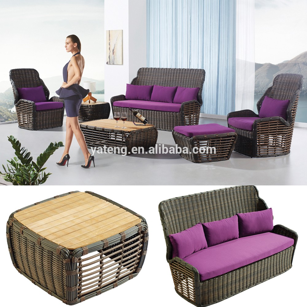 Modern design rattan divan lifestyle living room furniture for Divan sofa set