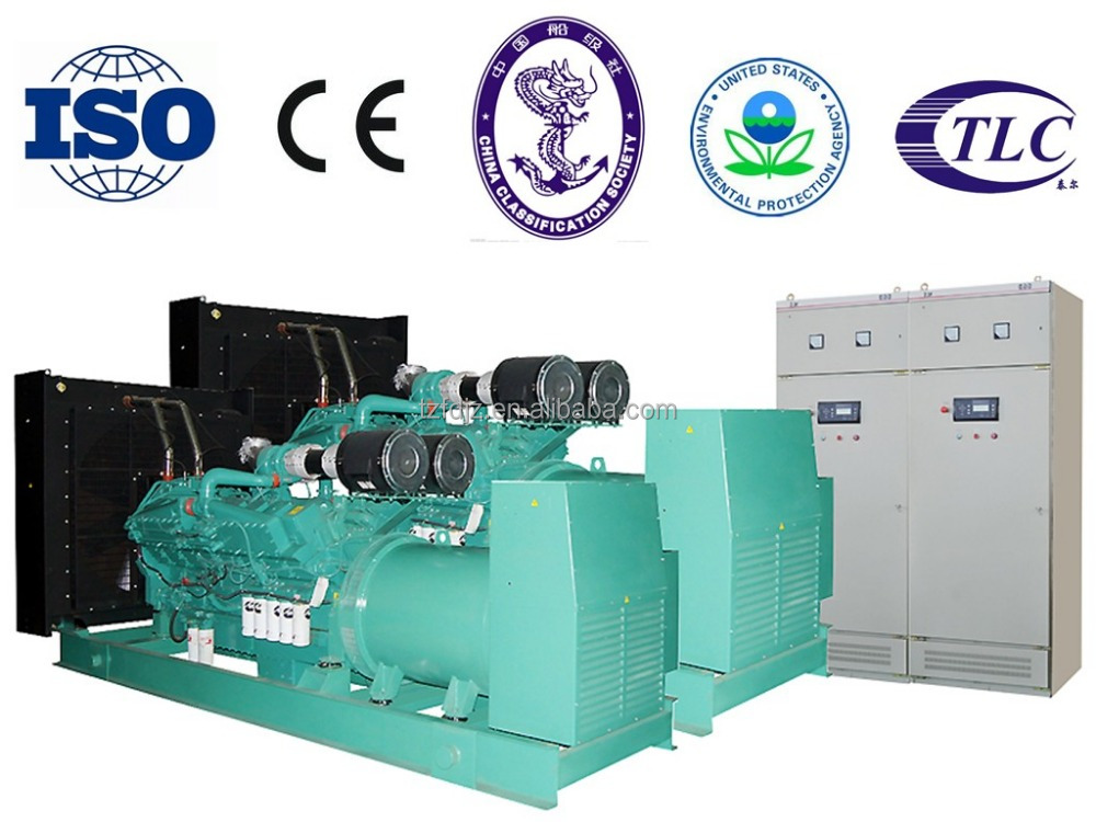 IS09001/CE approved 1000kw diesel generator with synchronizing panel for sale powered by Cummins KTA50 electric genset