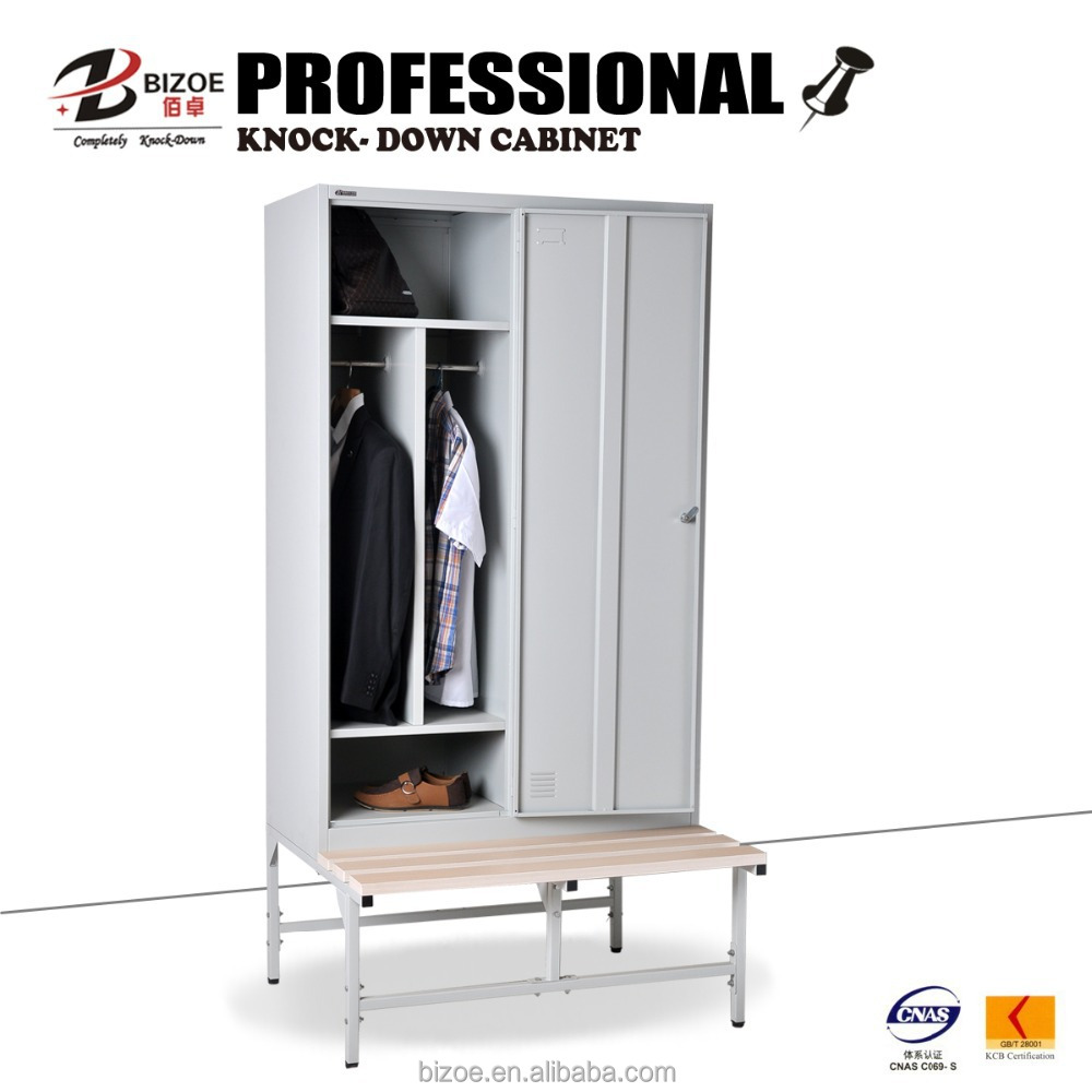 Modern furniture metal 2 door clothing steel locker/ wardrobe