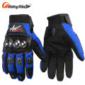 Mens Blue Motorbike Biker Cheap Motorcycle Rain Leather Gauntlet Road Motor Racing Gloves