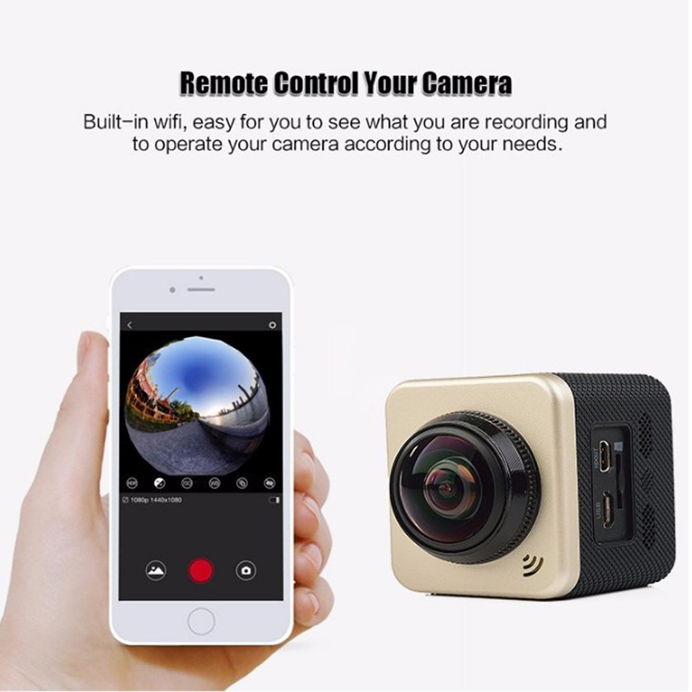 New Promotion Cube Waterproof 360 Action Camera Mini VR 2.0 Lcd Screen 4K Sports Camera Manufacturer