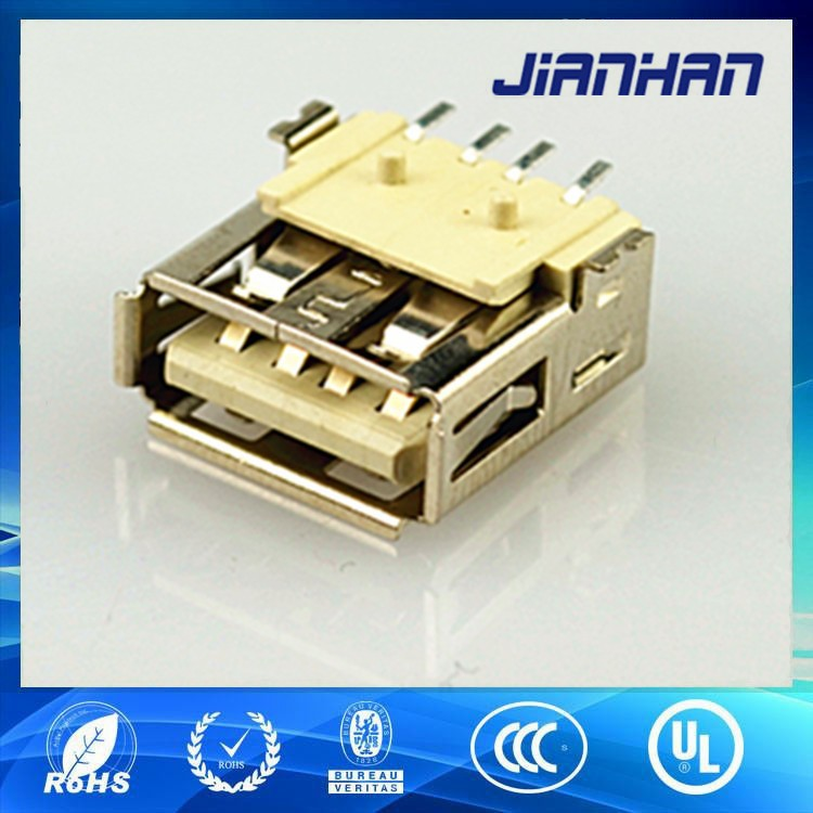 USB A type 4 pin female SMT receptacle connector
