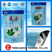 custom 2015 hot selling 250g stand up bag empty tea bag green tea bags