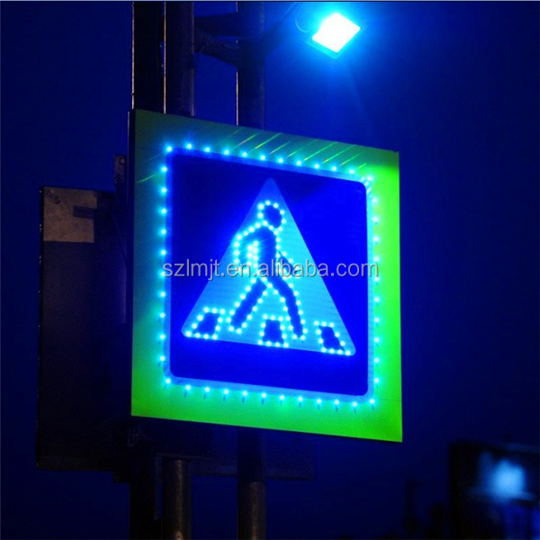 Factory price Li battery built-in seamless aluminum solar LED road sign