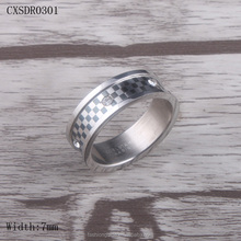 7MM Width Stainless Steel Ring with Crystal