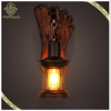 ManTsonG Lighting Wood Sconce Glass Lamp, Ancient Wood Wall Lamp