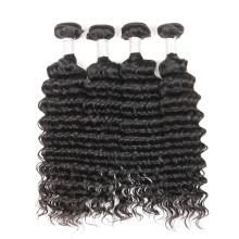 Human hair extensions deep wave, 4 bundles in one bag 8A grade brazilian remy hair bundles